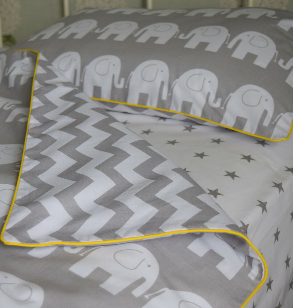 Sale 100 Cotton Cot Bed Duvet Cover Set Reversible Grey