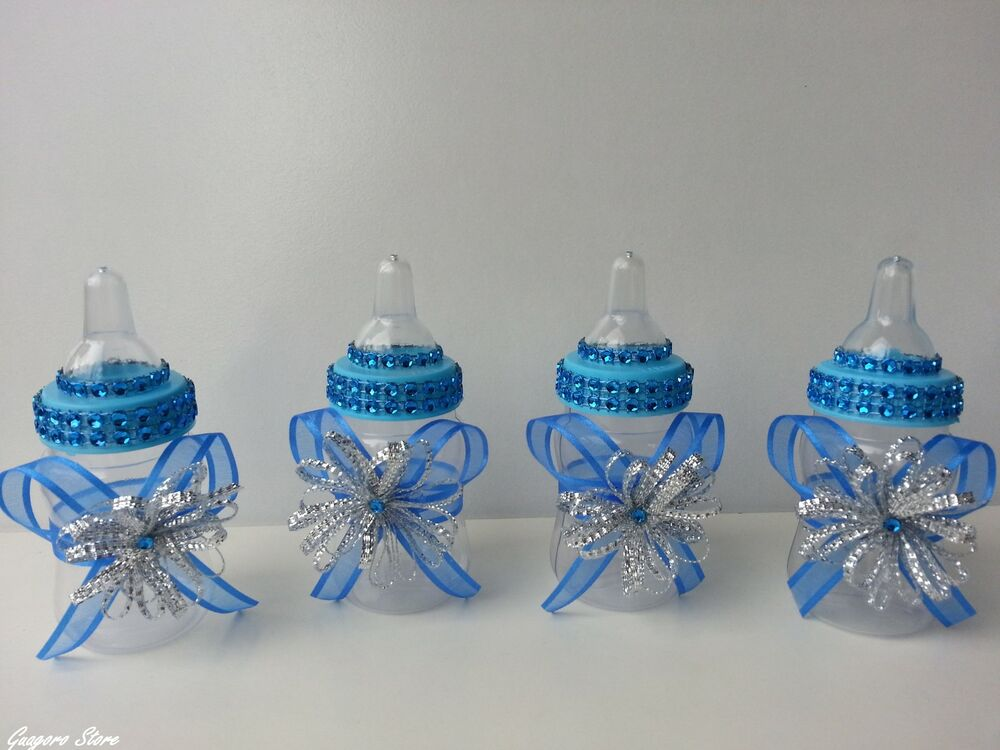 12 blue fillable bottles baby shower little prince favors for A new little prince baby shower decoration kit