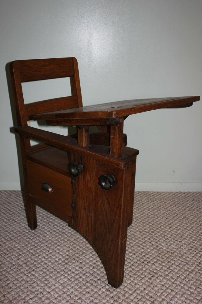 Rare Antique School Desk And Chair Wood Metal Tiger Oak Ebay