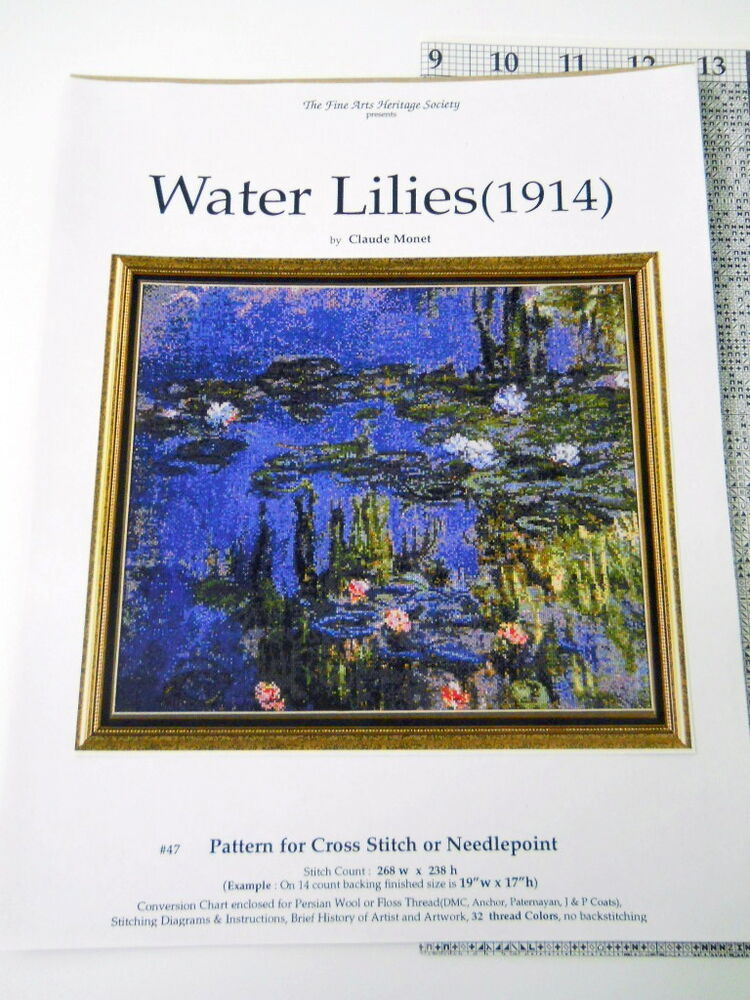 Water Lilies Cross Stitch Pattern Only Monet Fine Arts Society