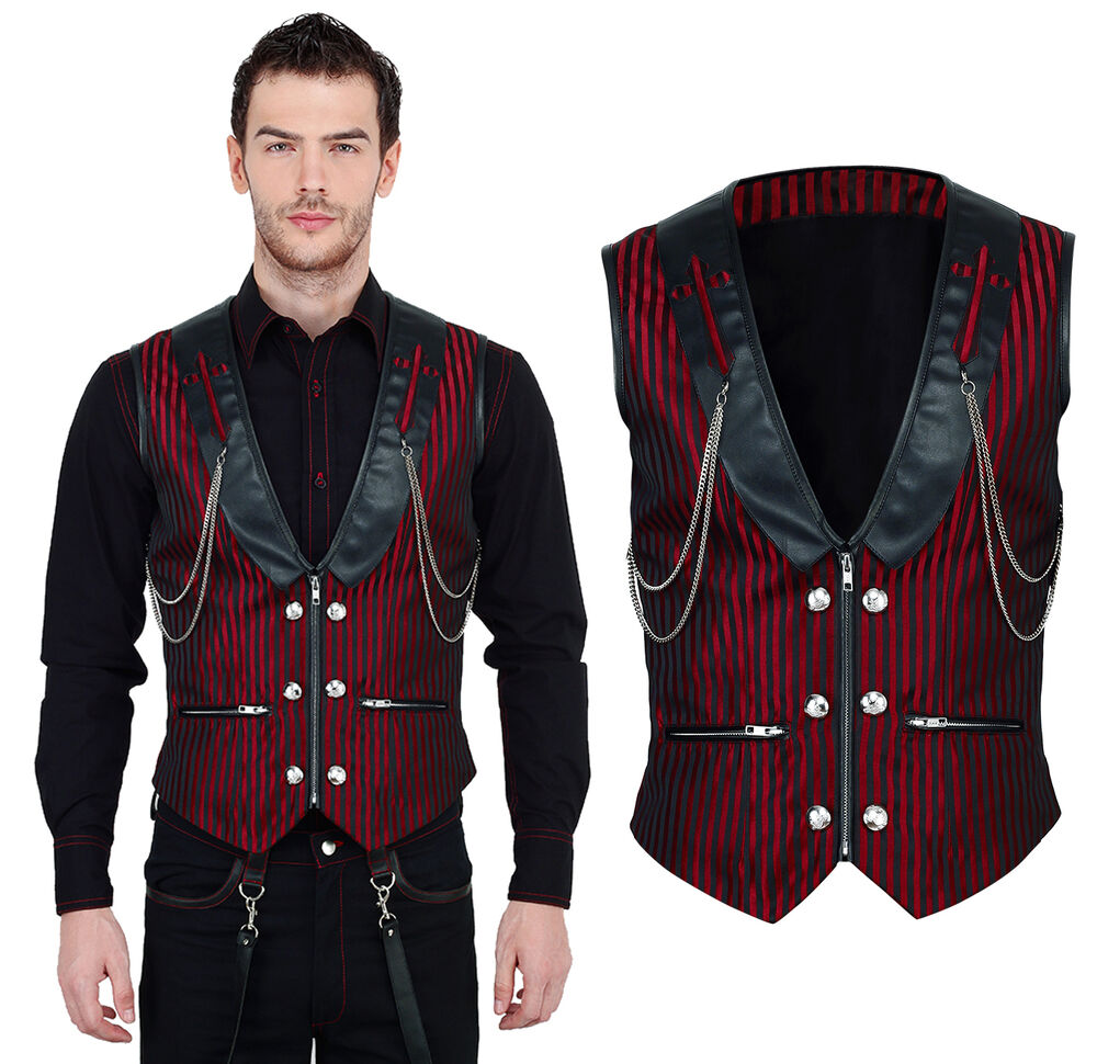 vintage steampunk goth vest men black red vest brocade black red vg16419 ebay. Black Bedroom Furniture Sets. Home Design Ideas
