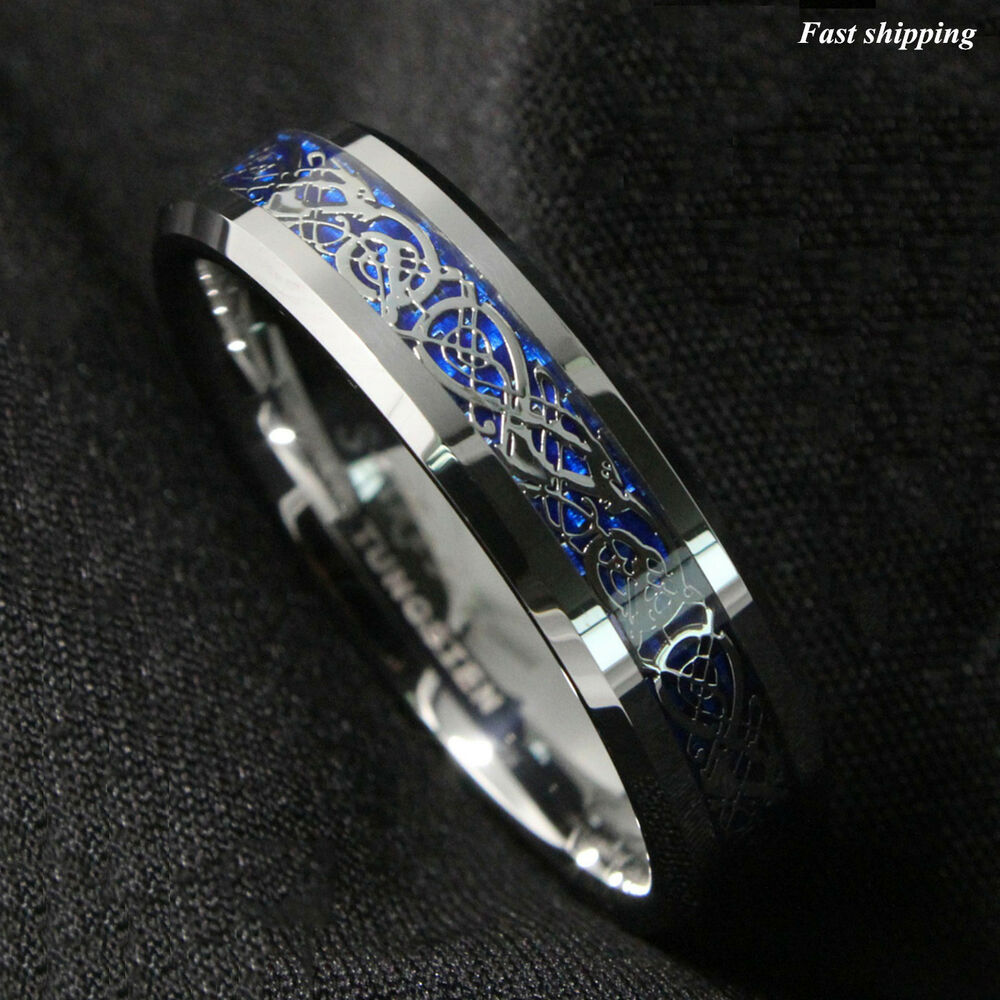 6mm silvering celtic dragon tungsten carbide ring mens. Black Bedroom Furniture Sets. Home Design Ideas