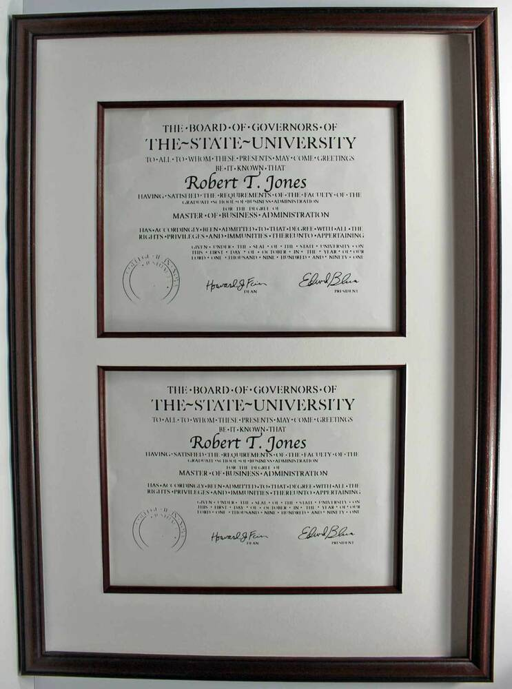 Double Diploma Wood Picture Frame For 2 Documents 8 1 2x11