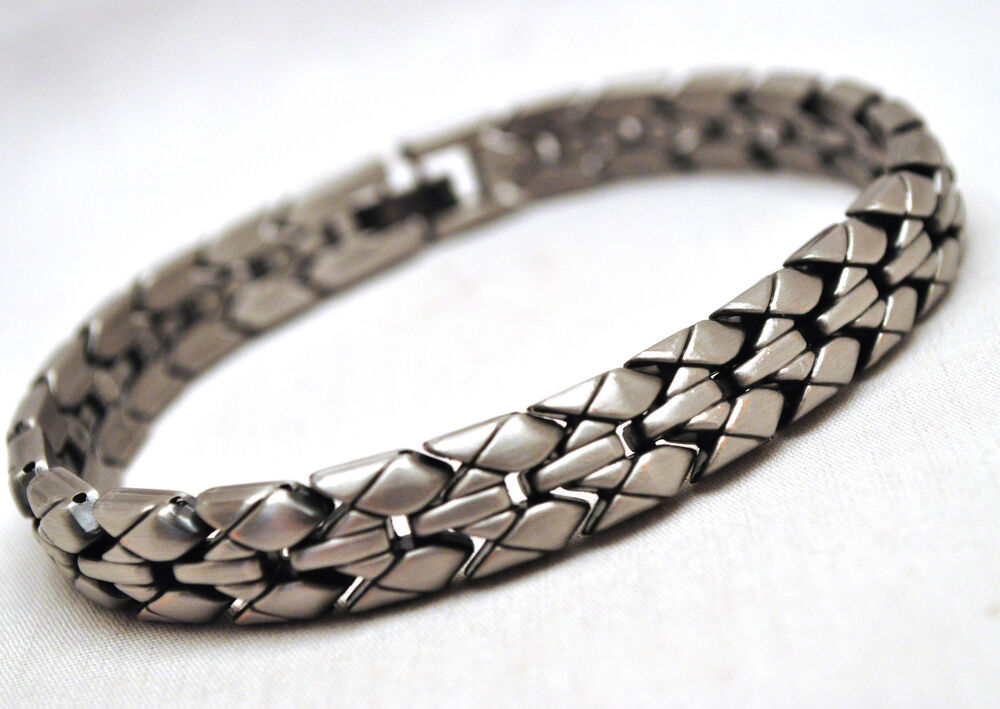 MENS 8.5 INCH MAGNETIC THERAPY LINK BRACELET: Woven Silver ...