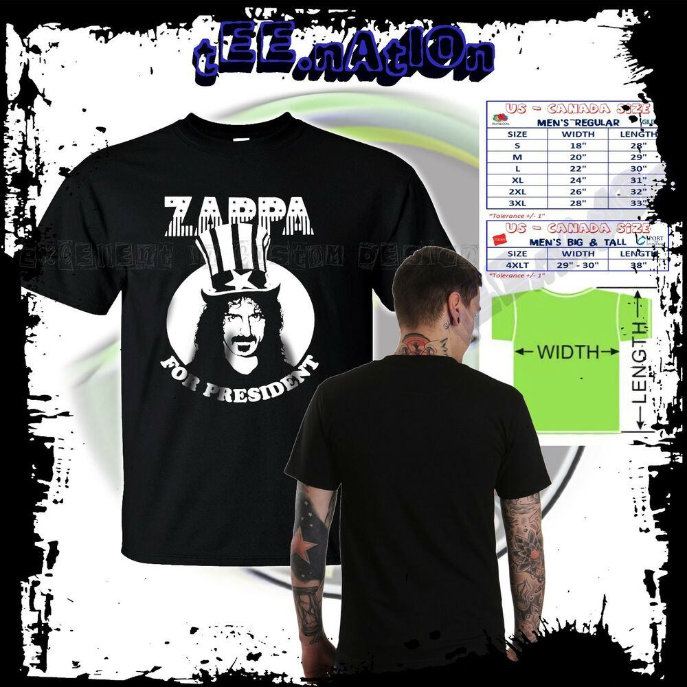 New Frank Zappa Rock Classic Band Zappa For President Mens