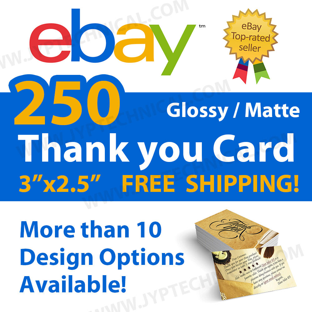250 eBay Seller Professional Thank You Business Cards FREE