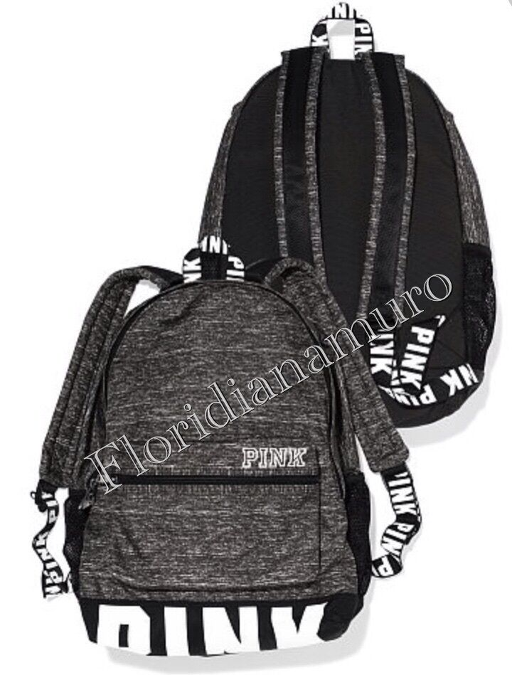 e48092d46233 New Victoria s Secret Pink Campus Backpack Logo Black White Gray Marl NIP