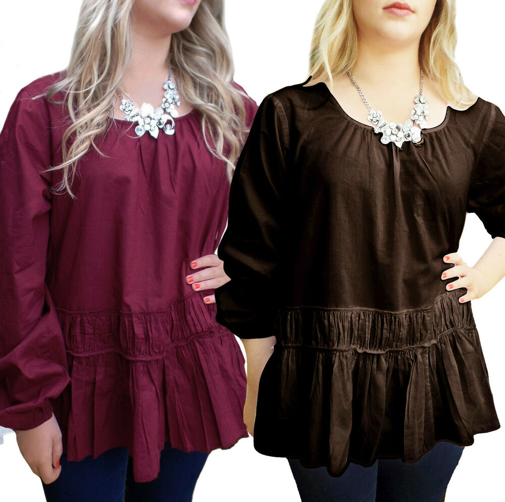 , results for plus size tops Save this search. Postage to Guaranteed 3-day delivery. Update your information Plus size 14 to 28 UK long top spring tunic abstract aztec print with loose cowl. AU $ 4+ watching. AU Plus Size Womens Chiffon Loose Casual Shirt Tops Lady Long Sleeve Tops Blouse.
