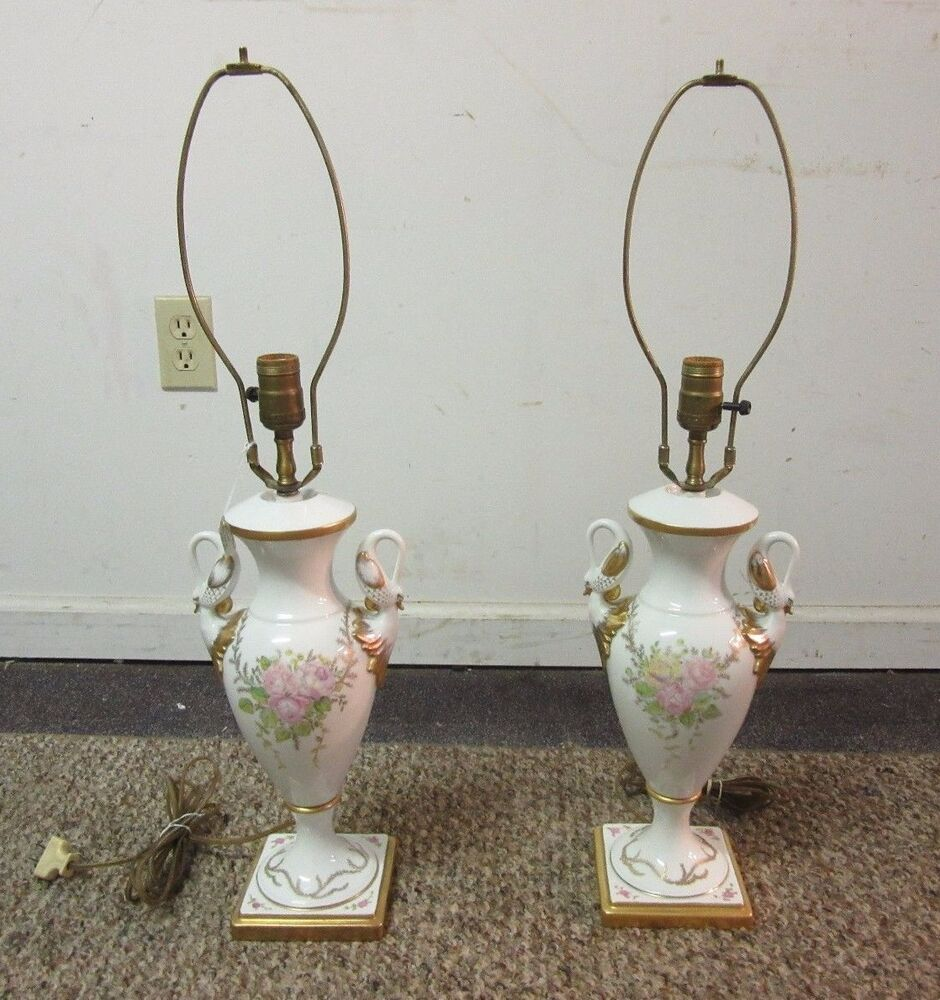 Pair Of Vintage French Porcelain Hand Painted Swan Limoges Style Lamps EBay