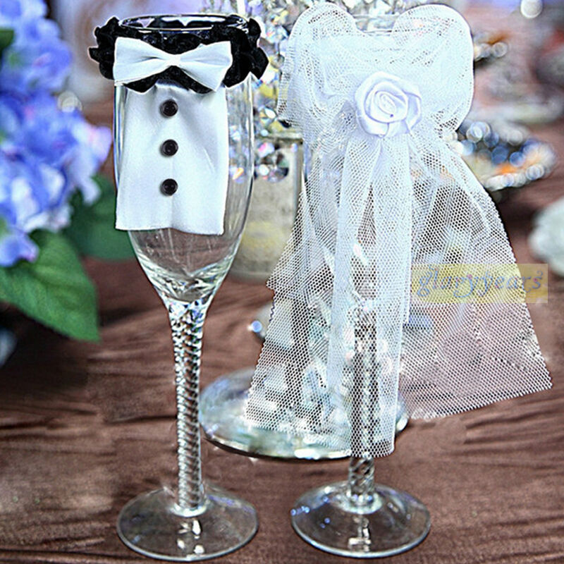 New couple wedding party wine glass decor bride groom tux for Wine glass decorations for weddings