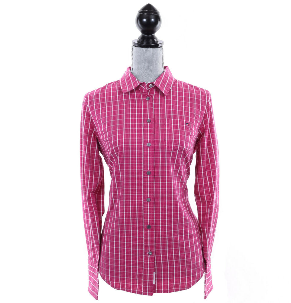 Tommy hilfiger women classic fit long sleeve plaid button for Plaid button down shirts for women