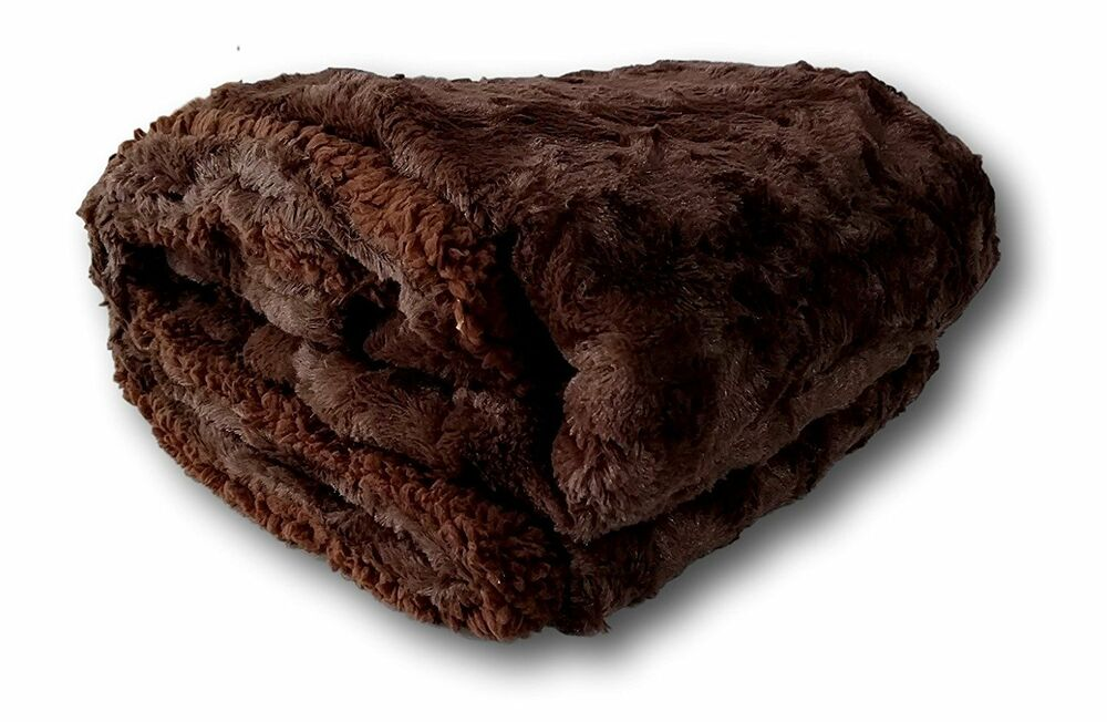 Dada Bedding Soft Luxury Winter Dark Brown Faux Fur Sherpa