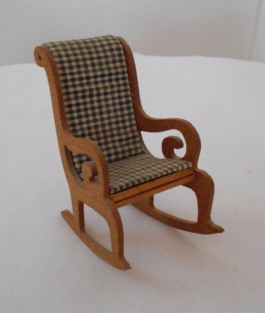 Vintage miniature dollhouse furniture wood rocking chair black white upholstery ebay Dollhouse wooden furniture