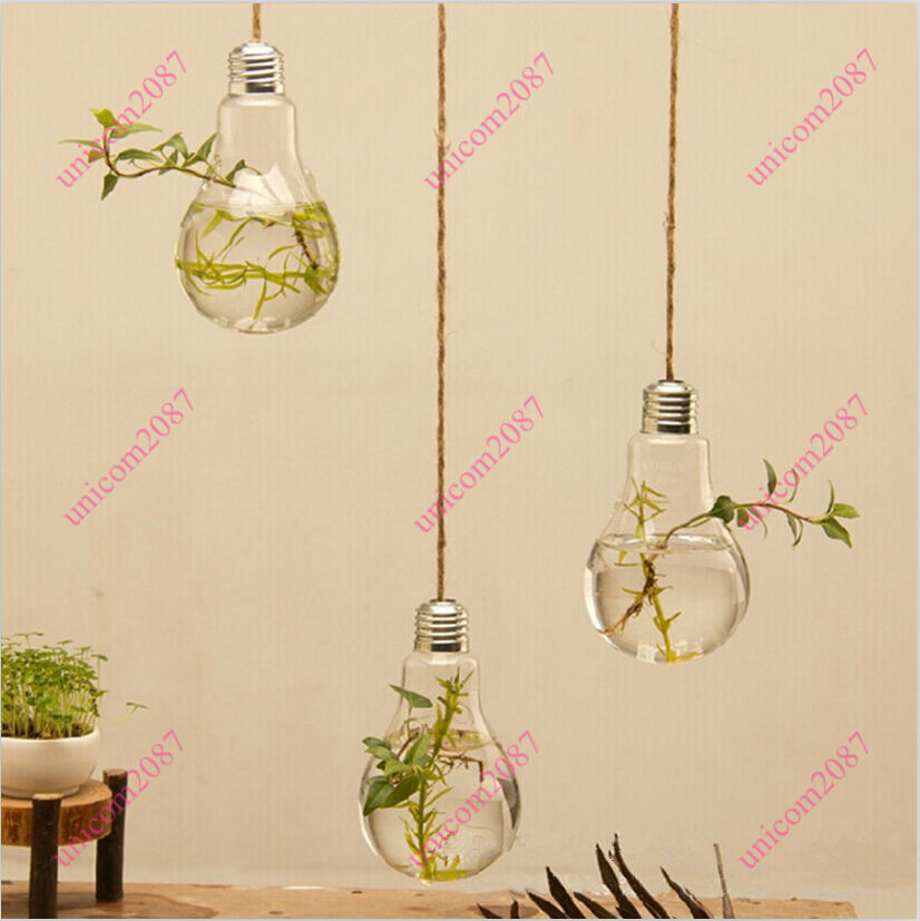 Wall hanging glass flower plant vase terrarium container home garden ball decor ebay for Decoration cristal