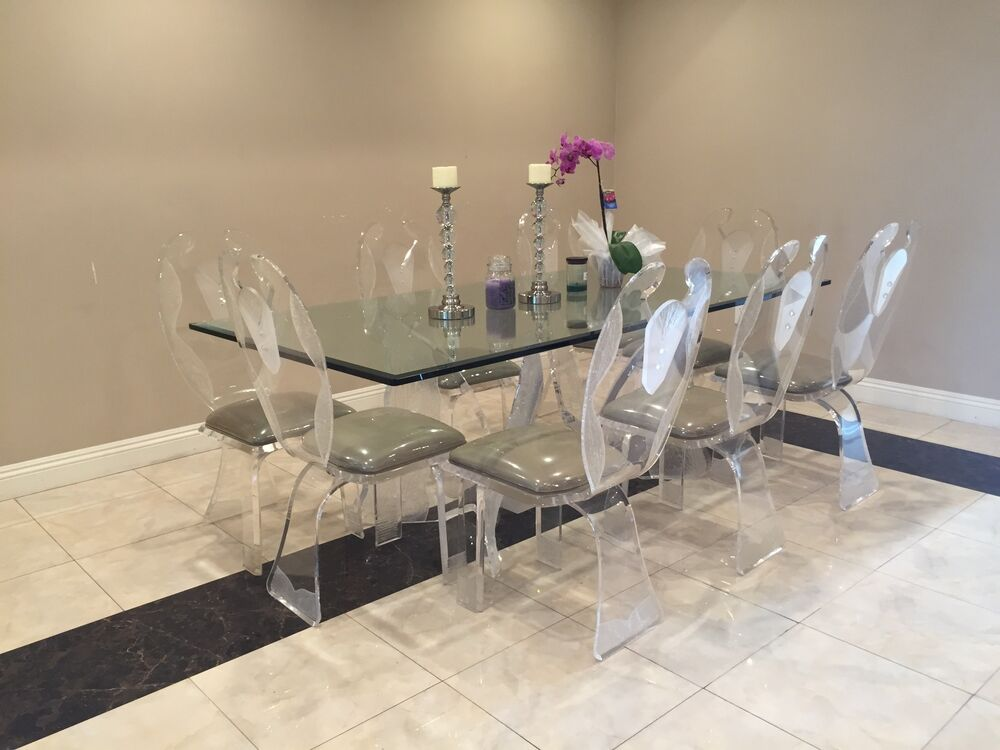 Vintage Lucite Ii Butterfly Dining Table Beautiful Set