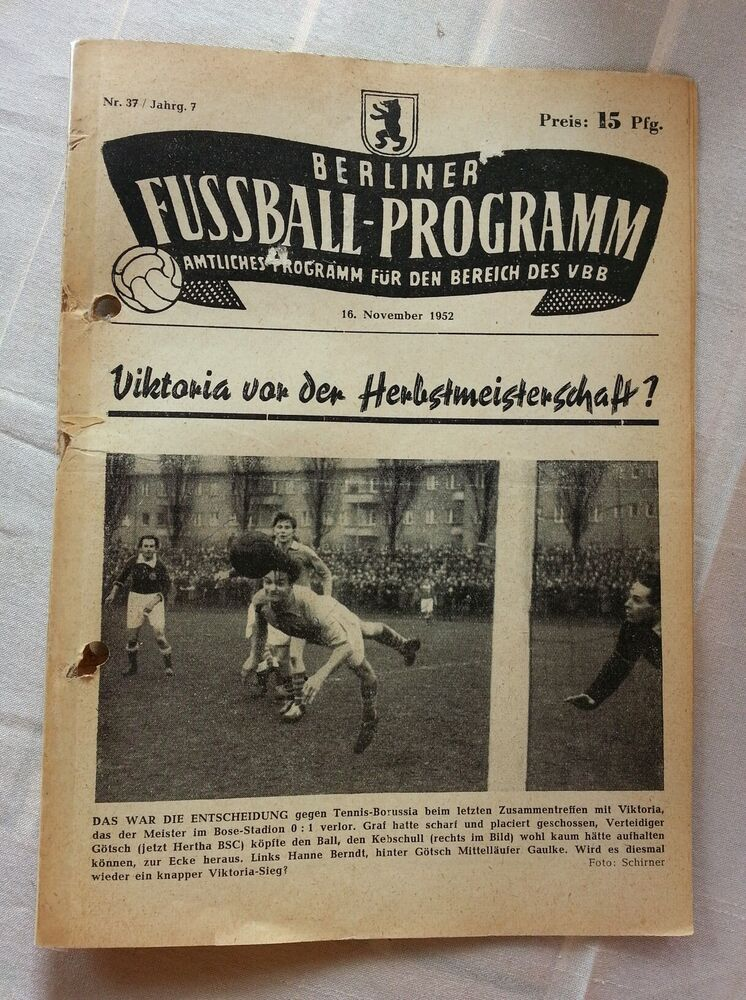 berliner fussball programm viktoriatebe berlin union 06 hertha bsc berlin k ln ebay. Black Bedroom Furniture Sets. Home Design Ideas