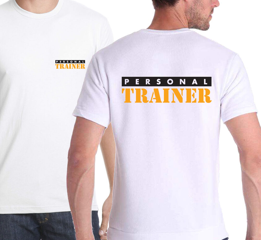 Personal trainer t shirt printed front back white gym for Personal t shirt printing