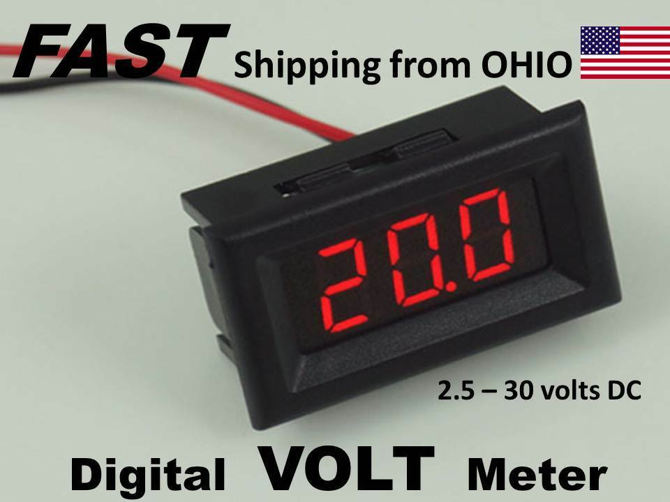 Volt Meters Panel Mount : Flush mount digital volt meter vdc to