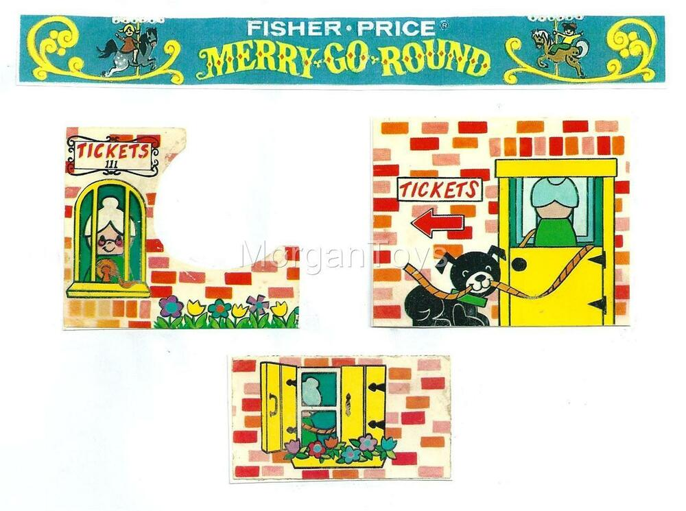 vintage fisher price merry go round replacement lithos. Black Bedroom Furniture Sets. Home Design Ideas