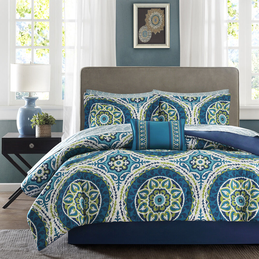 beautiful modern tropical exotic bed in bag blue teal green comforter set sheets ebay. Black Bedroom Furniture Sets. Home Design Ideas