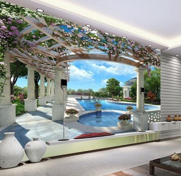 3d wallpaper bedroom living mural roll swimming pool for 3d pool design online free