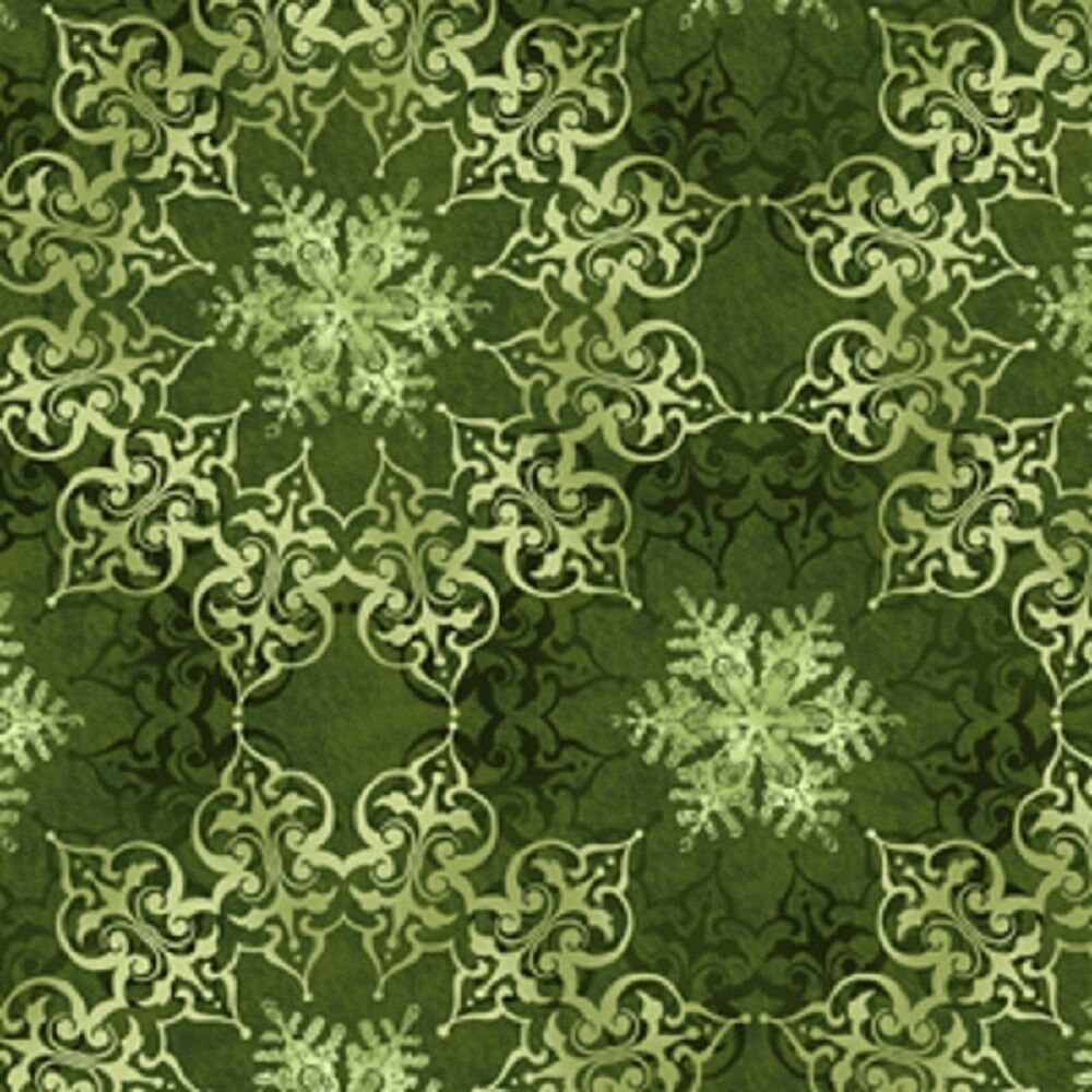 Fabric 2504 green medallions and snowflakes jason yenter for Green fabric