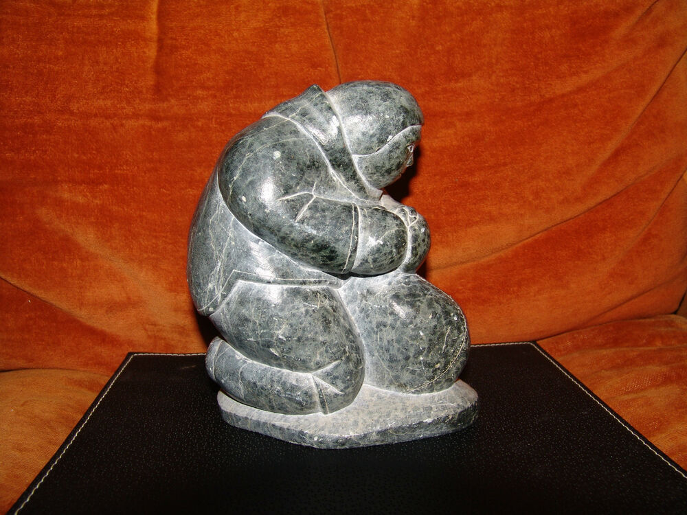 Vintage big eskimo art inuit statue stone carving signed