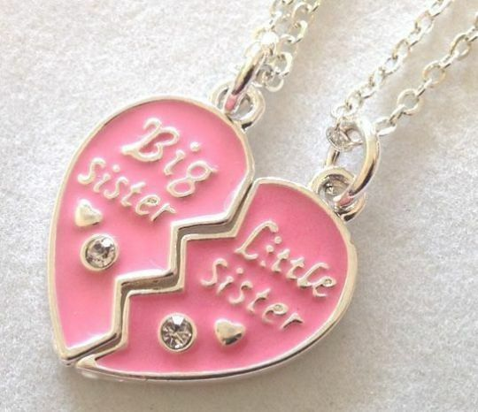 big sister little sister heart necklace children and adult