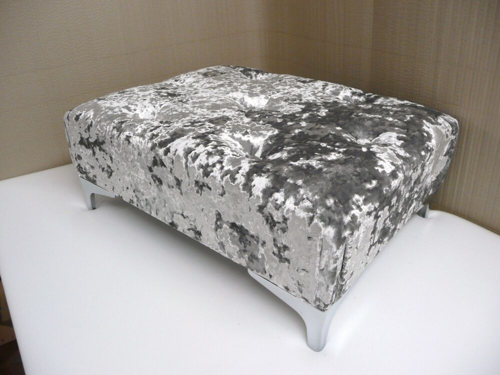 Large Button Top Footstool In A Quality Silver Crushed