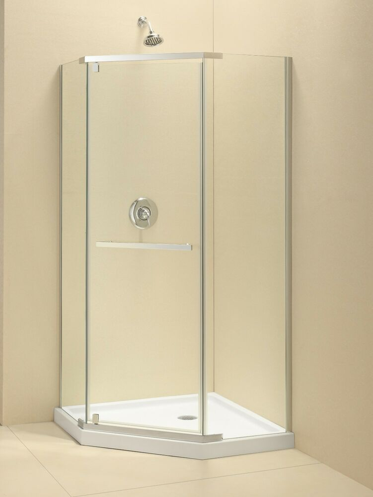 Quot prism 3 8 quot glass frameless pivot neo corner shower enclosure ebay