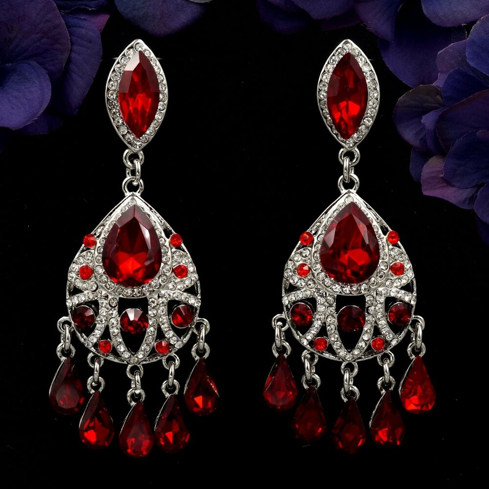 rhodium plated red ruby crystal rhinestone chandelier drop. Black Bedroom Furniture Sets. Home Design Ideas