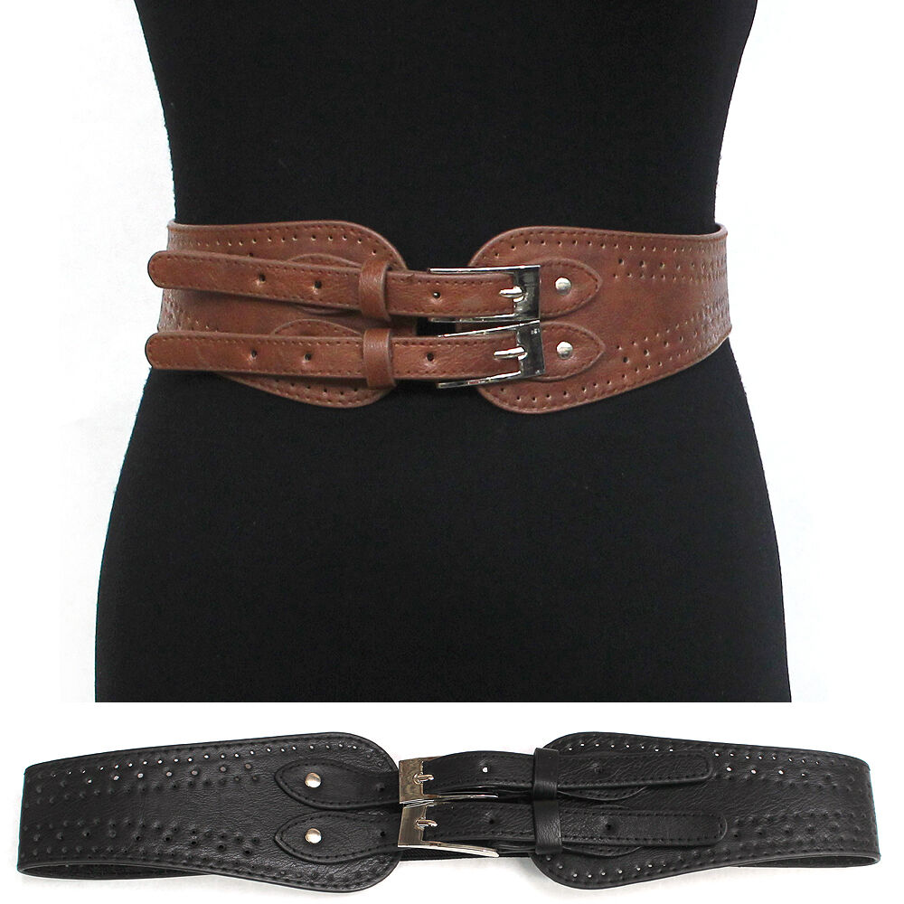 elastic leather buckle hip waist wide belt stretch