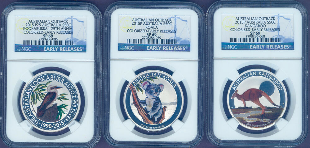 Australia Outback 2015 1 2oz Silver Colorized 3 Coin Set