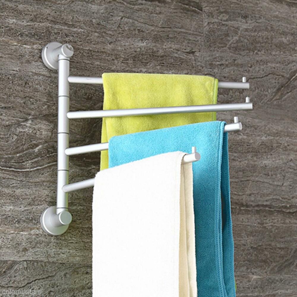 4 Swivel Bar Wall-mounted Towel Rack Applied Stainless