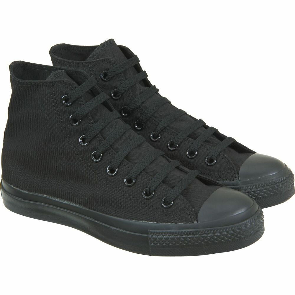 BLACK CANVAS ANKLE BOOTS HI HIGH TOP PUMPS TRAINERS BOYS ...