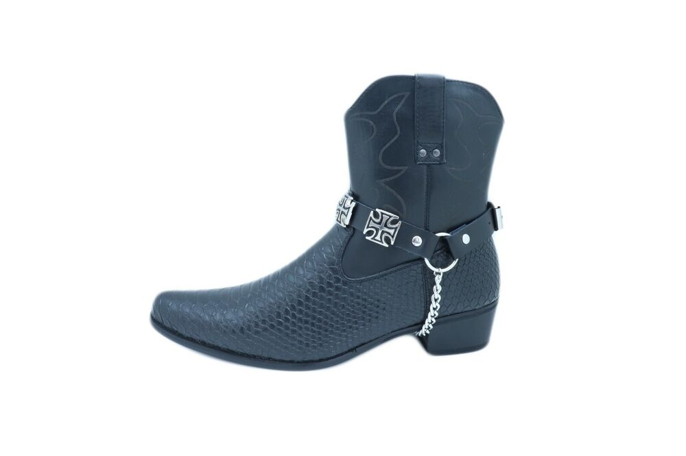New Men Silver Western Boot Chains Pair Leather Straps