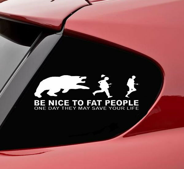 Be Nice To Fat People Vinyl Decal Sticker Bumper Funny Car