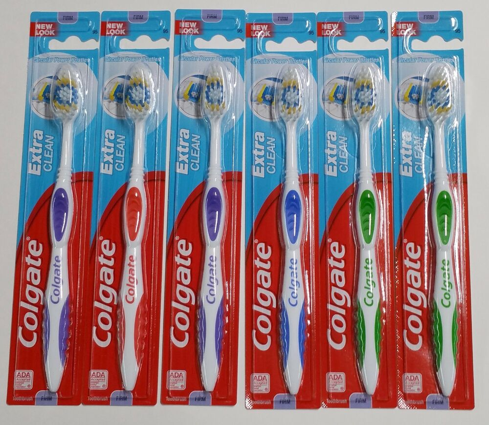 6 Colgate Toothbrushes Extra Clean FIRM Hard Bristles # 95 Assorted ...