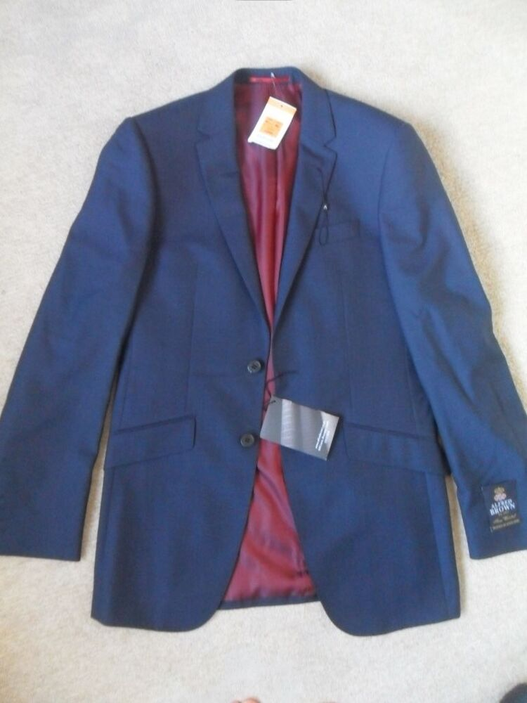 Ex M Amp S Autograph Alfred Brown Indigo Wool Tailored Fit