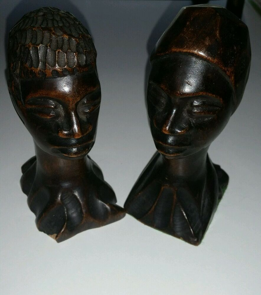 Unique vintage wood african man woman head bust set hand