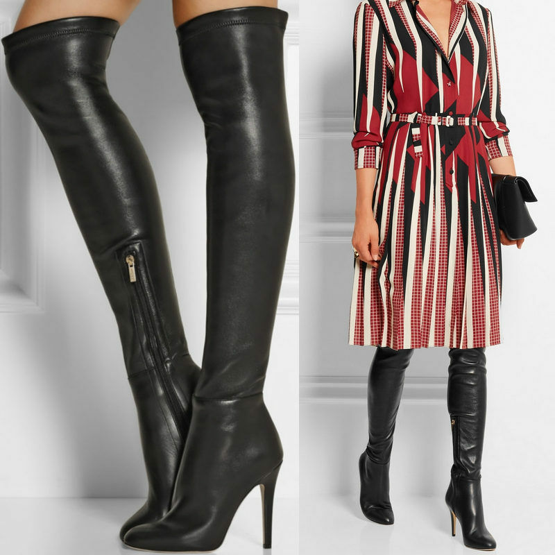 womens leather black thigh high the knee boots point