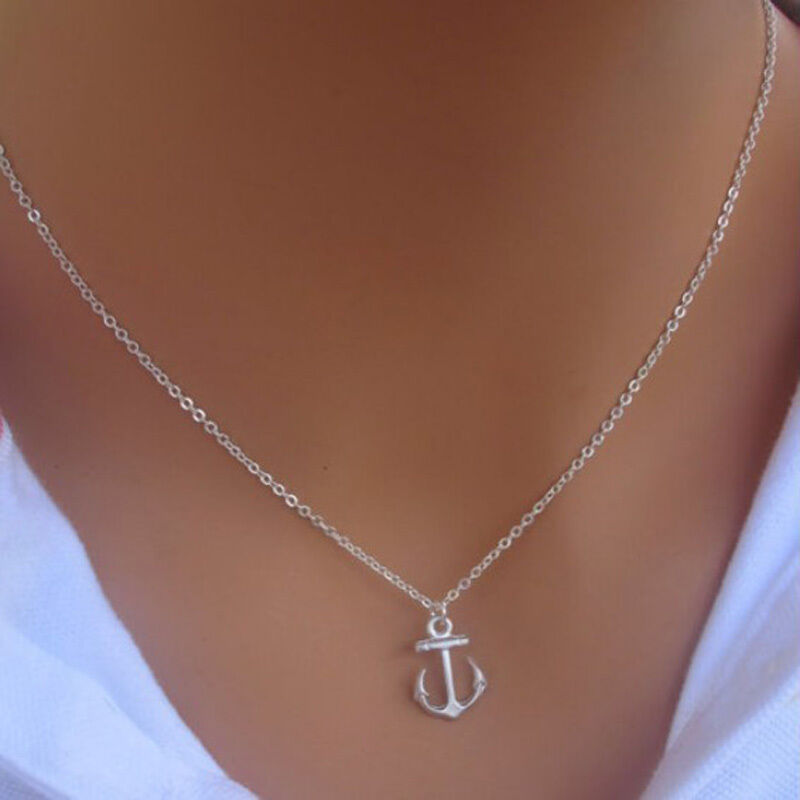 Chic New Simple Design Cute Anchor Silver Pendant Bib ...