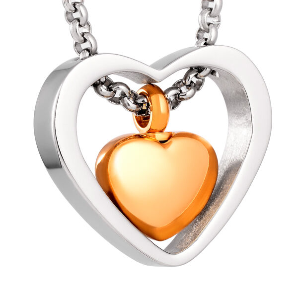 Stainless steel heart cremation pendant urn jewelry holds for Stainless steel cremation jewelry