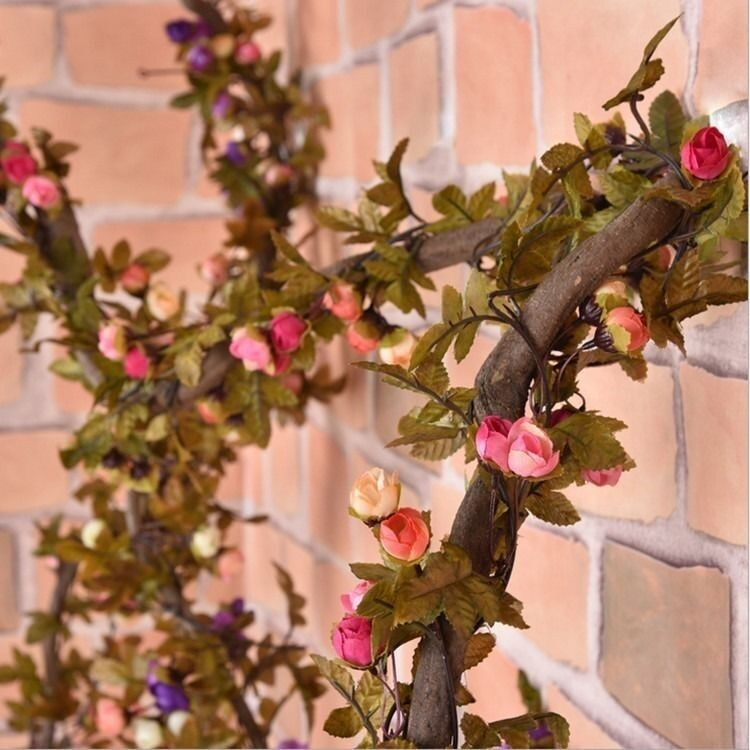 2 2m Artificial Silk Rose Flower Vine Wall Hanging Ivy