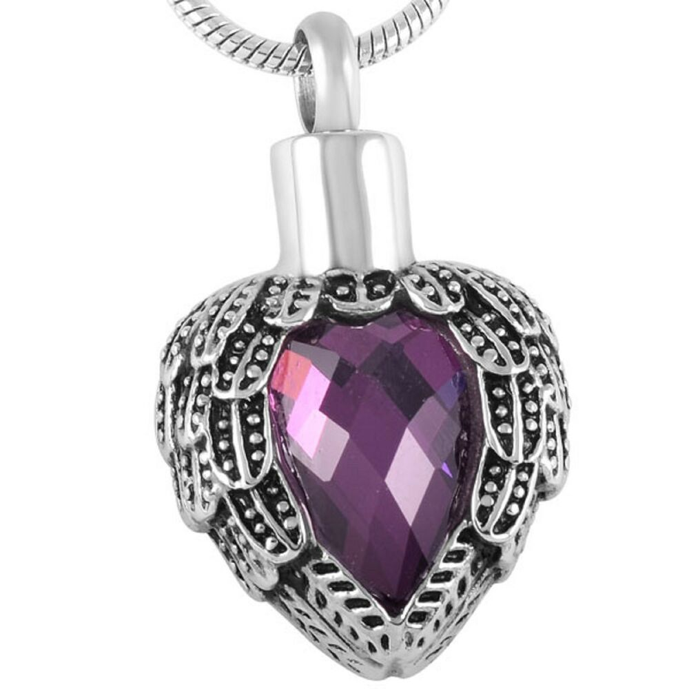 stainless steel feathered heart cremation pendant urn. Black Bedroom Furniture Sets. Home Design Ideas