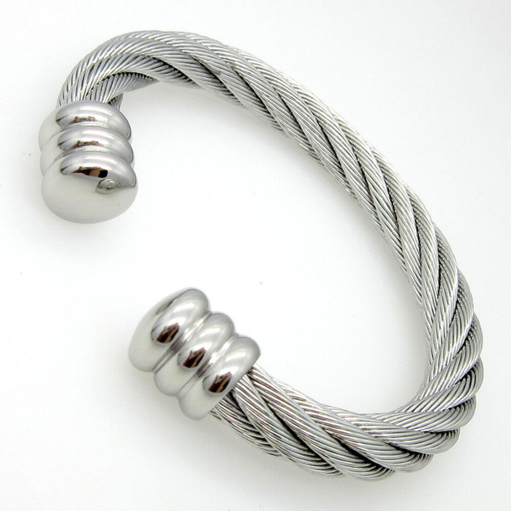 Men Women's Stainless Steel Twisted Cable Wire Bracelet ...