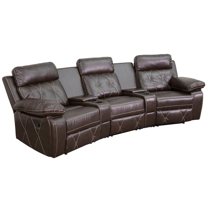3-Seat Reclining Brown Leathersoft Curved Theater Seating