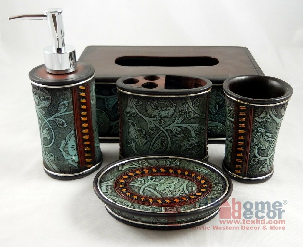 Rustic western floral turquoise bathroom accessory set 4 for Looking for bathroom accessories