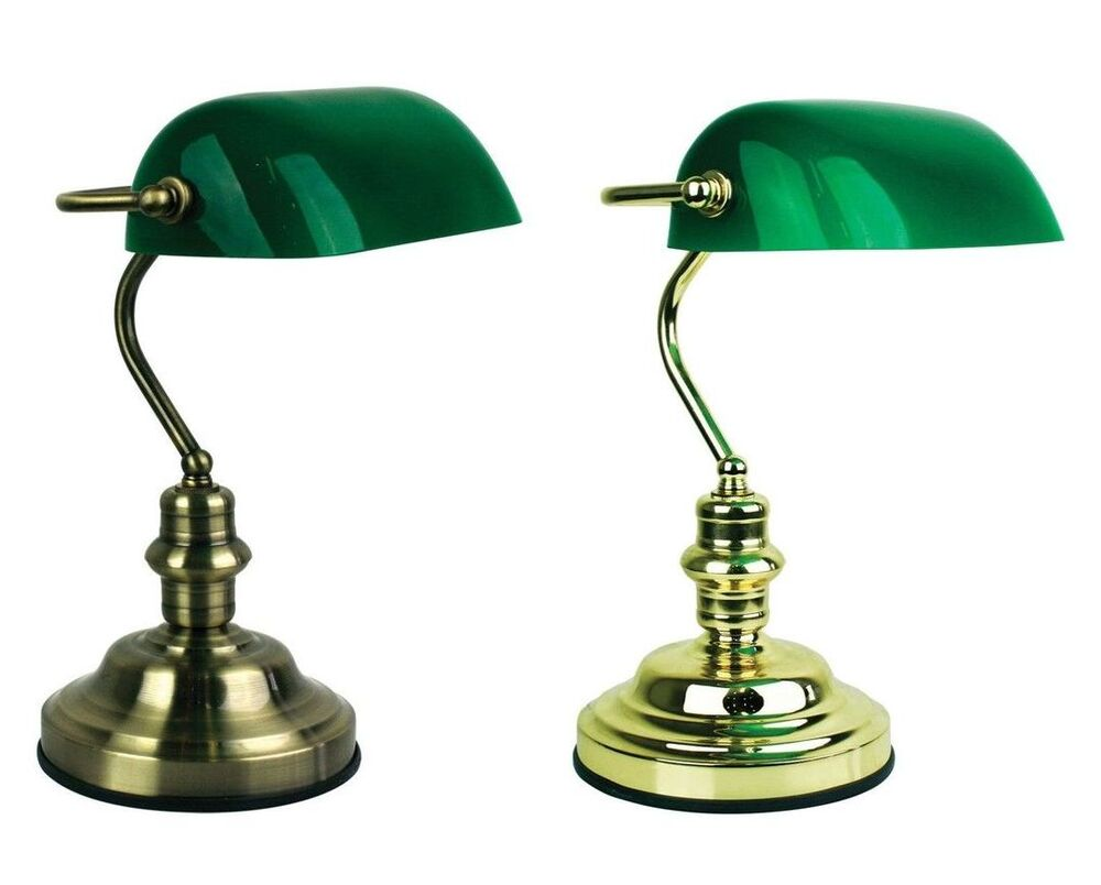 Bankers Touch Table Lamp Dimmable Globe Included Dark