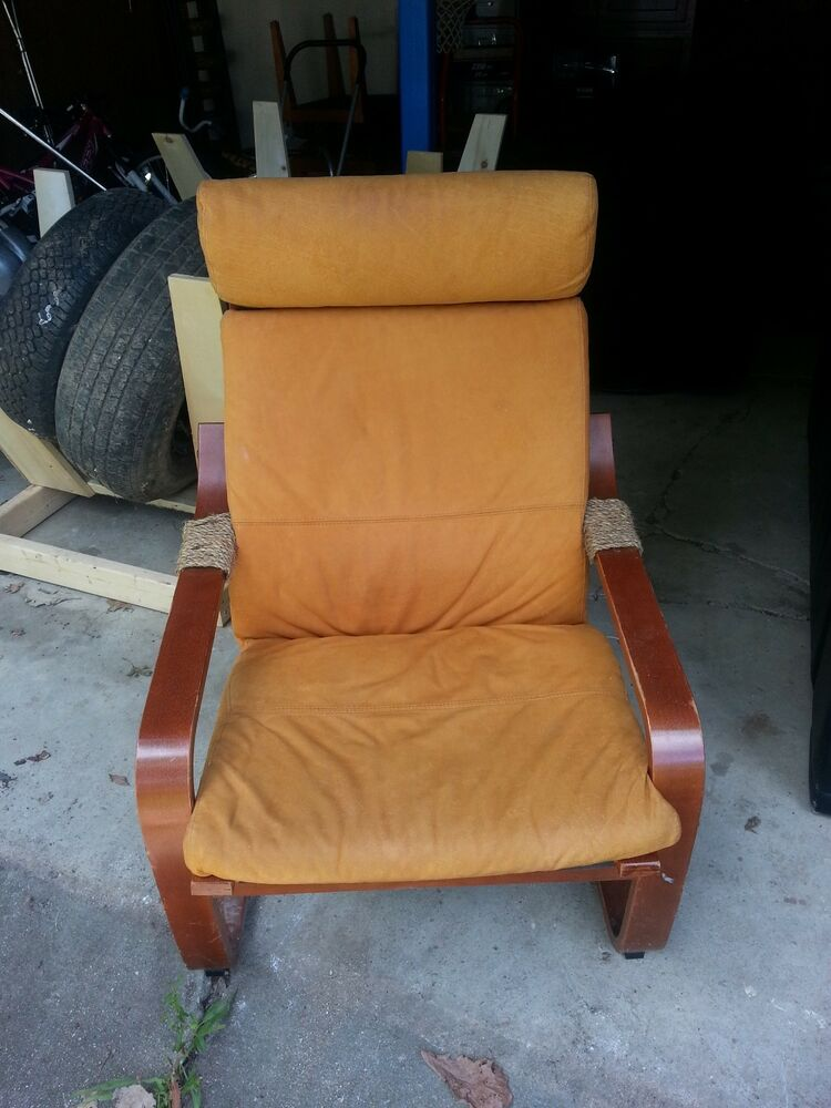 Ikea Po 196 Ng Chair Armchair W Suede Cushion Ebay